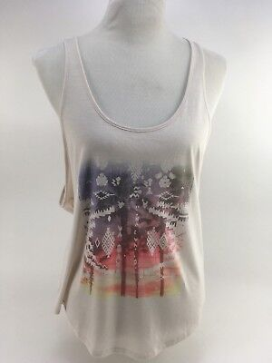 O'NEILL Lotus Tank Top Women's L Graphic Tee Ivory Open Back NWT $38 MSRP