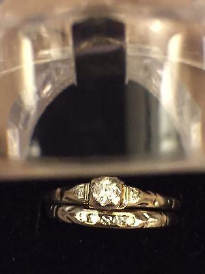 Vintage 14k White Gold Wedding Engagement Double Band Diamond Ring 2 Gm