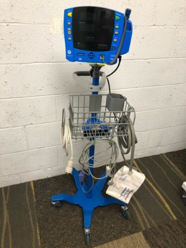 GE Dinamap V100 Carescape Patient Monitor w/ Complete Set & Rolling Stand