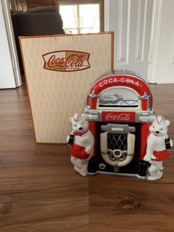 "Coca Cola Polar Bear Jukebox ""Always Friends"" Cookie Jar With Original Box! NEW"