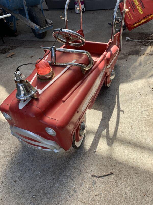 Fire Dept Engine No. 9 Hook & Ladder Metal Pedal Car All Original