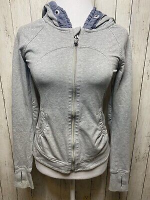 LULULEMON Scuba Hoodie Jacket Sweater Sz 4 Heathered Medium Grey