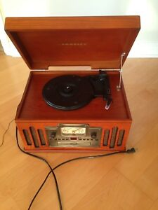 Record player with radio, cassette, cd players