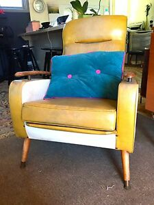 Two  mustard vinyl retro vintage arm chairs Daylesford Hepburn Area Preview