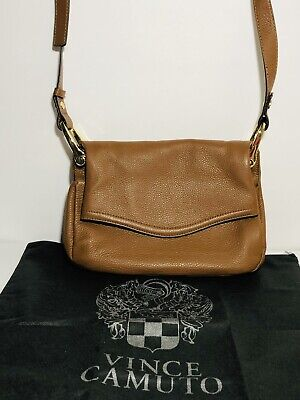 NEW Vince Camuto Lamb Pebbled Leather Tote Handbag Eliza Brown with Dustbag $228