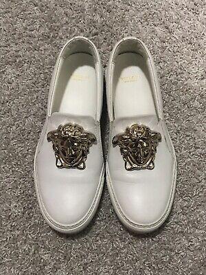 $925 Versace Medusa White Gold Slip-on Sneakers Euro 37 US 6.5-7
