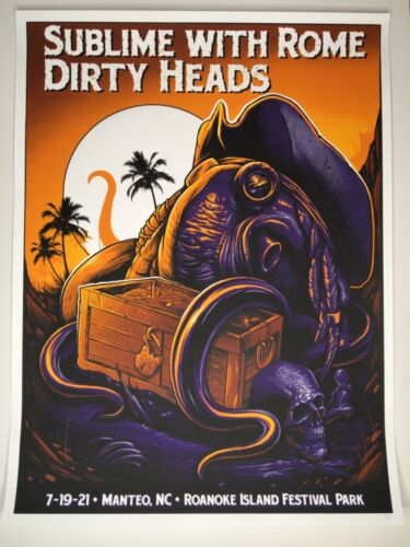 Sublime & Dirty Heads screen print poster 7/19/21 Manteo NC, limited ed. 100