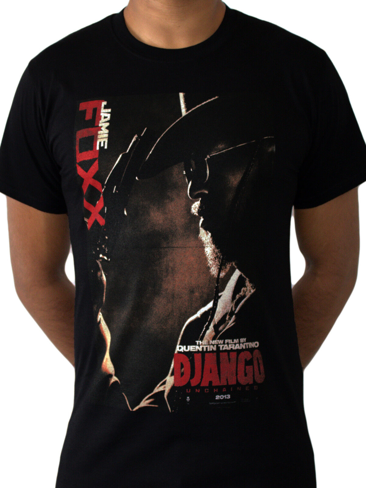 Django Unchained Chain Movie Poster Tarantino Western Cowboy Black Mens T-shirt