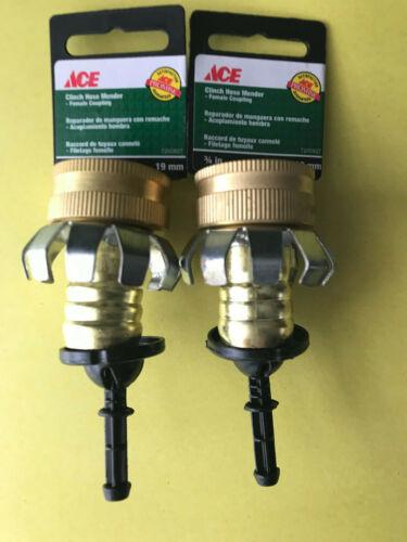 "2 Ace 7200827 Brass Female End Clinch Hose Repair; Fits 3/4"" Garden Hose"
