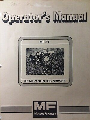 Massey Ferguson Mf 31 Rear Mounted 3-point Tractor Sickle Mower Owners Manual 76