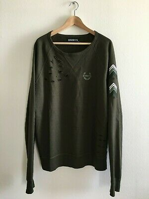 Military Crew Sweatshirt - BARRY'S BOOTCAMP Sweatshirt Military L/S Crew Army Green Sweater $88 - Men XL