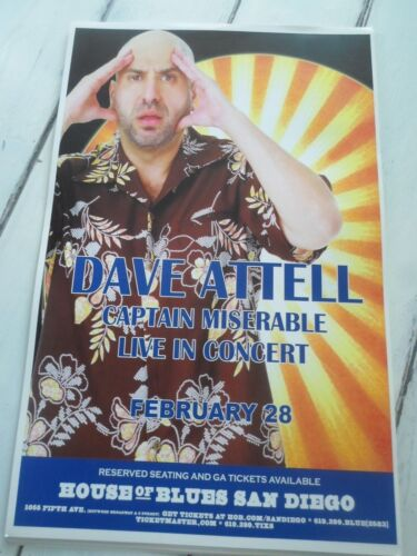 """DAVE ATTELL Concert Poster CAPTAIN MISERABLE San Diego House of Blues 11""""x17"""""""