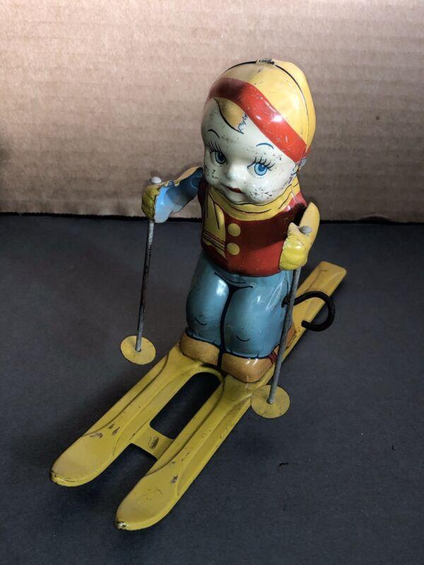 J Chein Ski Boy #157 Skier Tin Litho Wind Up Excellent working well