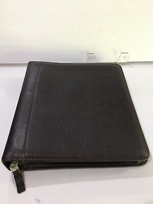 Franklin Covey Brown Pebbled Leather Large Zip Planner Organizer 7 Ring Classic