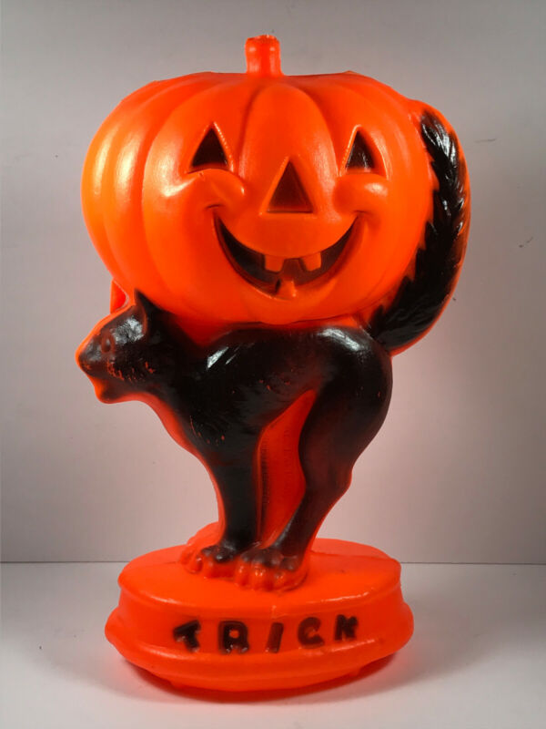 Vintage blow mold light Halloween Black cat Jack O Lantern TRICK TREAT pumpkin