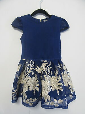 DAVID CHARLES blue mesh dress with floral embroidery girls sz 4y