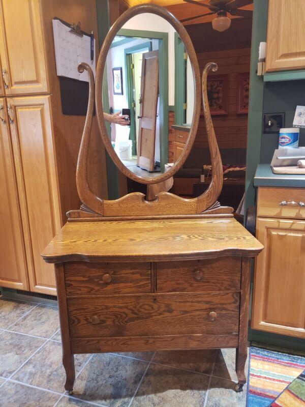 19th Century Quartersawn Oak Washstand w/ Oval Mirror