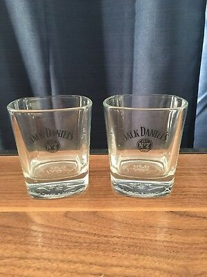 "LOT OF 2 JACK DANIELS WHISKEY OLD NO. 7  SQUARE GLASSES 3-1/2"" HEAVY AWESOME!!!, used for sale  New Orleans"