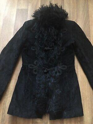 Vintage 90s Does 70s Black Penny Lane Suede Jacket
