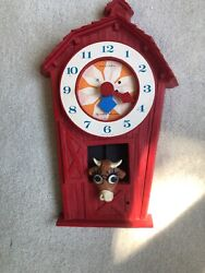 Wee Winkie Wall Clock By Westclox Vintage Rare Little Red Barn With Cow pendulum