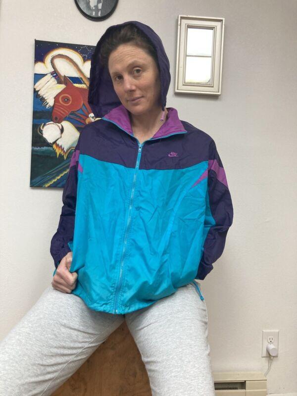 Vtg 90s Womens 14 Nike Color Block Hooded Windreaker Jacket