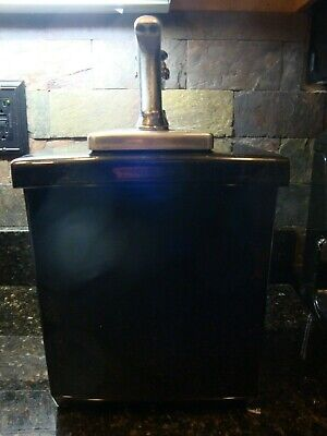 Vintage Black Ceramic Soda Fountain Large Dispenser With Syrup Dispenser Pump