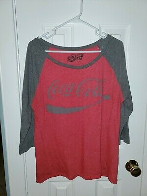 Old Navy Collectabilitees T-shirt Top Red Gray Large Coca Cola 3/4 Raglan Sleeve
