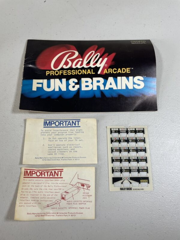 Vintage Bally Professional Arcade Fun & Brains Owners Manual & Extras