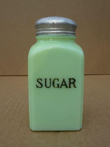 VTG Jeanette Jadeite Green Glass Range Sugar Shaker Original Aluminum Lid