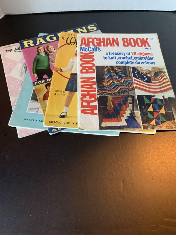 Vintage Knitting / Crochet Books Lot Of 5