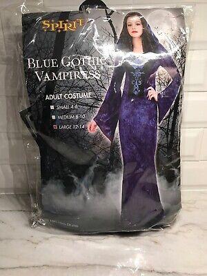 Vampire Costume Spirit Halloween (Spirit Halloween Gothic Vampiress Vampire Adult Large 12-14 Costume Blue Black)