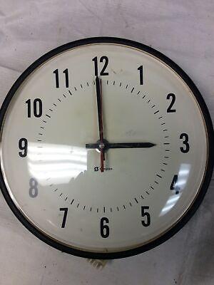 "Vintage Simplex Dome Industrial School Wall Clock 13"" - Black 1029207MN"
