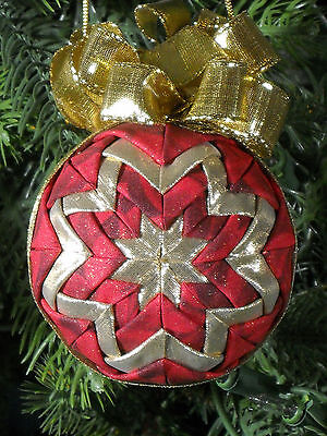 Quilted Christmas Ornament Handmade Red and Gold One of a Kind #14