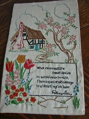 Vintage embroidered picture panel thatched cottage garden Patience Strong verse