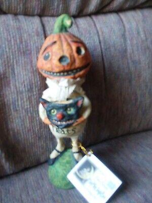 """Debra Schoch Bethany Lowe 8"""" Pumpkin Ghost Black Cat Halloween Retired"""