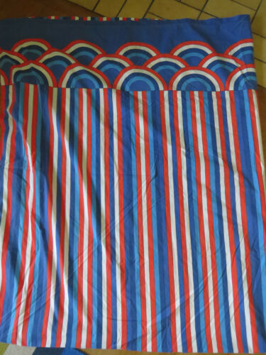 Vintage Vera Neumann Burlington Flat Sheet Mod Red White Blue fabric 81x104 in.