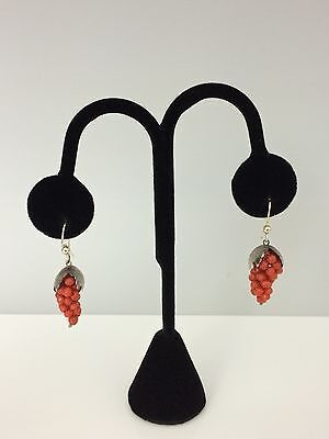 Victorian Carved Coral Beaded Earrings Grape Clusters in Sterling Silver