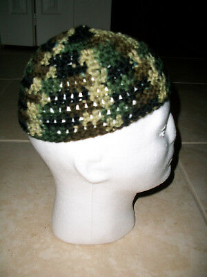 Adult Handmade Skull Cap Kufi Beanie Hat -Camouflage -Crochet Beanie Skully Army Crochet Skull Cap Hat