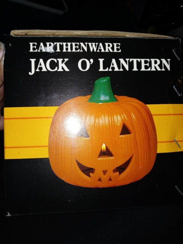 Vintage Earthenware Jack O Lantern Halloween Pumpkin Votive Candle Holder IN BOX
