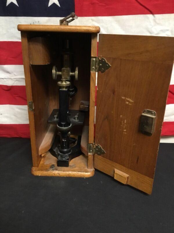 Antique 1908 Bausch And Lomb Optical Microscope In Origina Wood Case.