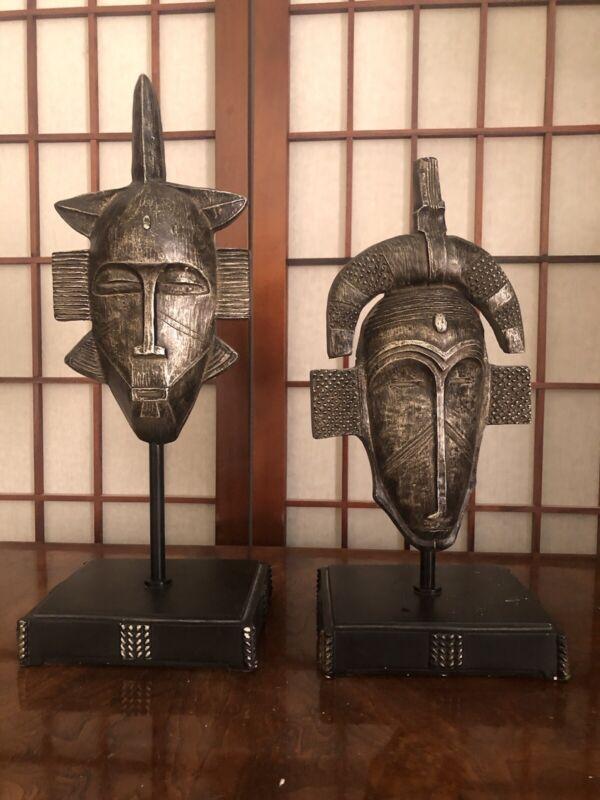 Austin Sculpture Kinder Collection Kenyan Masks on Stands