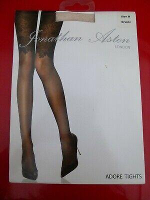 Jonathan Aston Adore Tights Colour Brulee (Cream) Medium Lace Pattern & Sheer