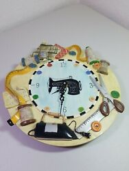 Ceramic Battery operated Wall Clock Sewing Theme