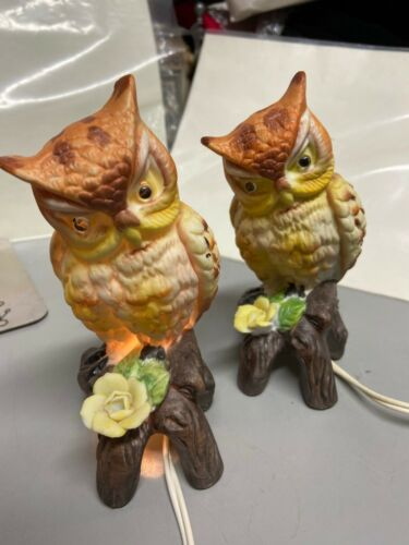 """2 Matching Owl Lamps Porcelain WORKS! 6 1/2"""" Tall Vintage"""