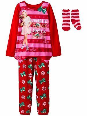 JoJo Siwa Girls Christmas Holiday Dog Red Pink Bows Stripe P