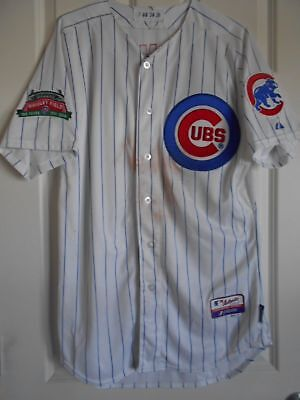 047ff9249 Chicago Cubs GAME USED 100 Year Patch JERSEY 2014 Baseball MLB Authentic  Worn