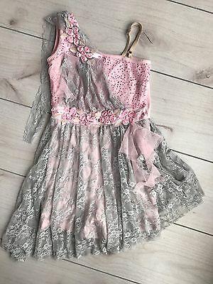 Girls Ballet Dance Unitard Child Large Costume Pink Dress Lace Shorts