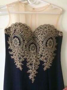 Navy With gold detailing Formal Gown, size 6