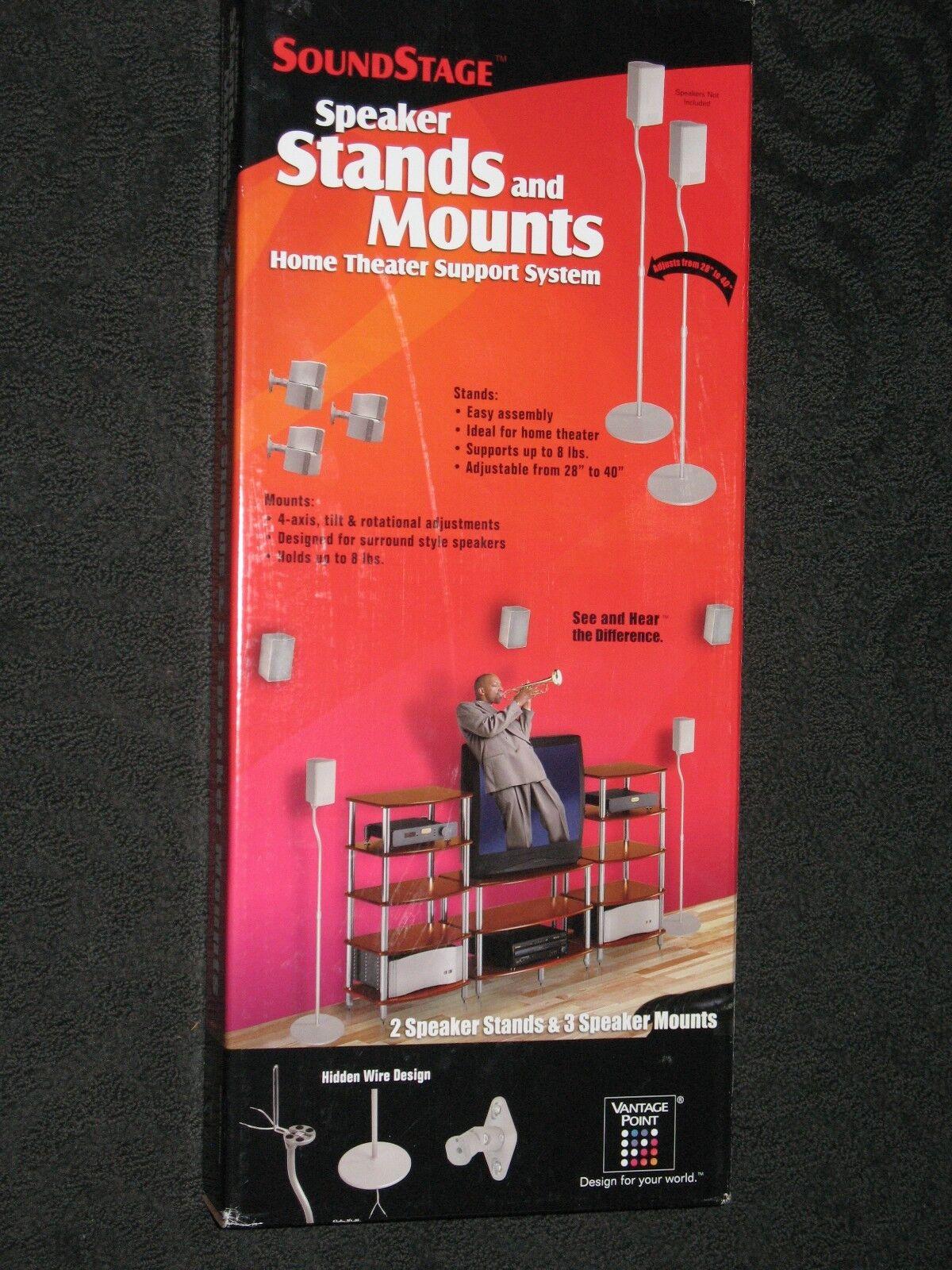 Vantage Point 3-SAT BookShelf Wall Mounts 2 Satellite Stand