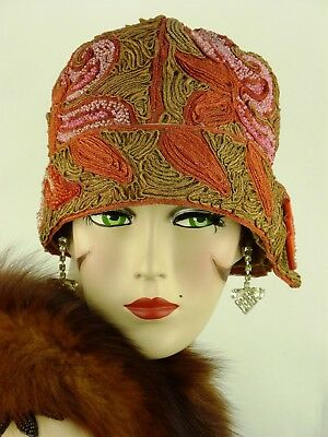 Matured HAT ORIG. 1920s CLOCHE SOUTACHE, EMBROIDERY & BEADWORK  & DECO HAT FLASH